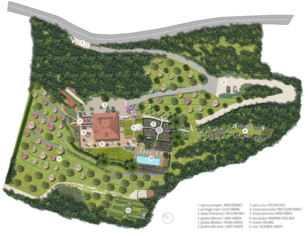 Villa gallia toscana progetto degli esterni la for Piccoli piani di progettazione in studio